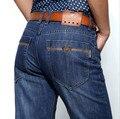 Novo 2017 Calças Dos Homens em linha reta Azul dos homens Calças de Brim Algodão Denim Masculino Jeans de Marca de jeans Lazer
