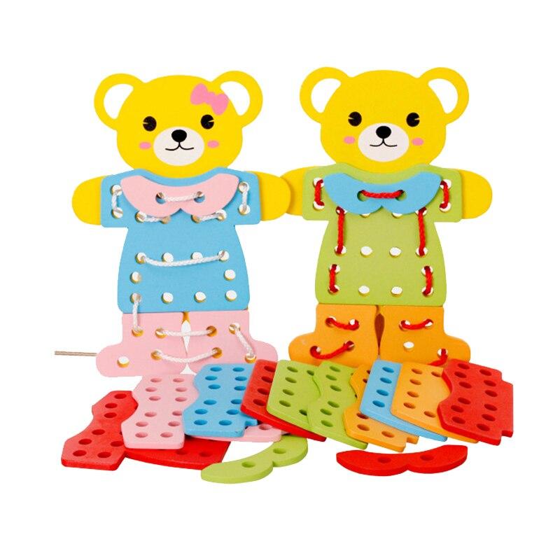 Cutebee jouets en bois pour enfants Montessori robe changeante Puzzle Cube ours Dressing Puzzle éducation pour enfants bébé jouets