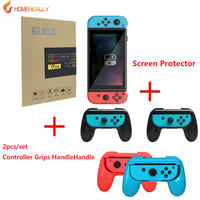 2pcs Set Controller Grips Handle For Nintend Switch Console Holder And Protective Film 9H Premium 2