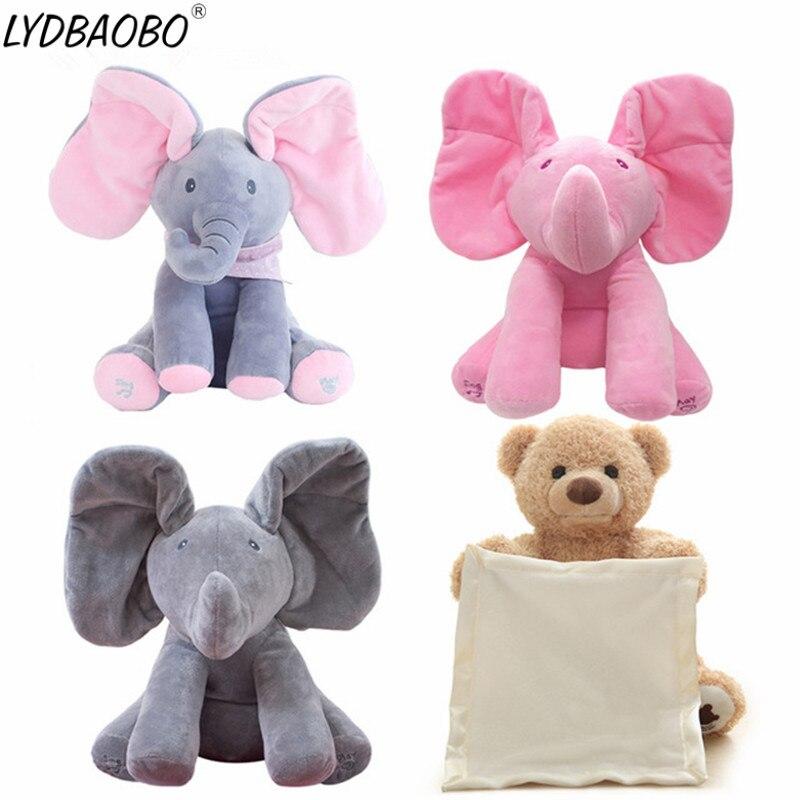 1 pc 30 cm Peek A Boo Elephant & Urso Bichos de pelúcia Plush Doll & Play Música Elefante Educacional Anti -stress Toy Presente Para As Crianças