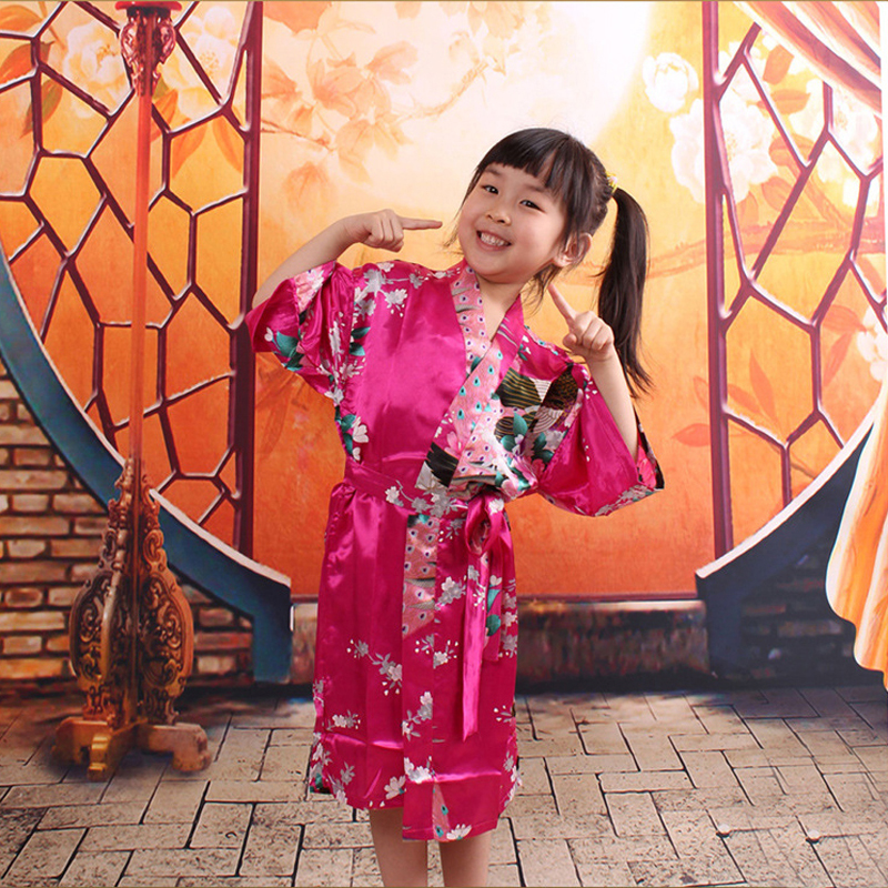 048e9ffffc Peacock Kids Robe Satin Children Kimono Robes Bridesmaid Flower Girl Dress  Silk children s bathrobe Nightgown Kimono robe 010613-in Robes from Women s  ...