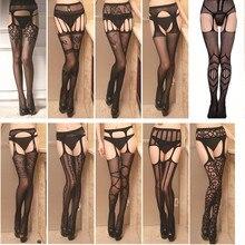 Ажурные колготки кружевные пикантные женские чулки высокие сетчатые чулки прозрачные колготки с вышивкой женское черное кружевное белье