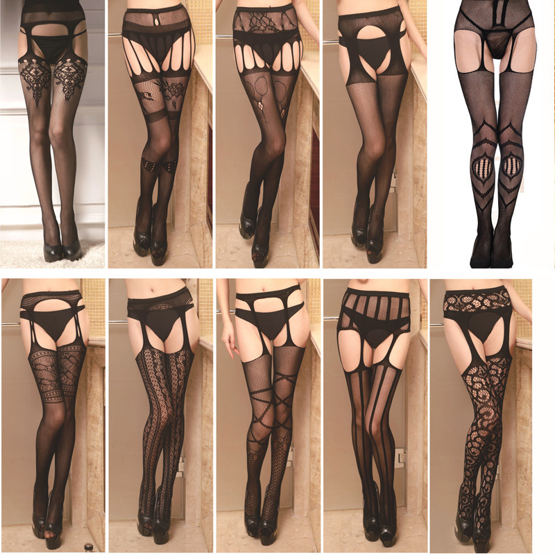2020 Hollow Out Tights Lace Sexy Stockings Female Thigh High Fishnet Embroidery Transparent Pantyhose Women Black Lace Lingerie