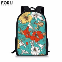 FORUDESIGNS Customize 16 inch Backpack for Teenager Girls Boy Colorful Flower Print School Bag Childrens BookBag Daypack