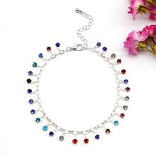 Accessories Crystal micro-set color  anklet female Creative beach personality wild feet jewelry 2 feet passive crystal sliver 18 pcs
