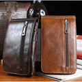 2016 Fashion Design Men Cowhide Leather Wallet Brown Business Travel Purse Vintage Belt Bum Waist Packs