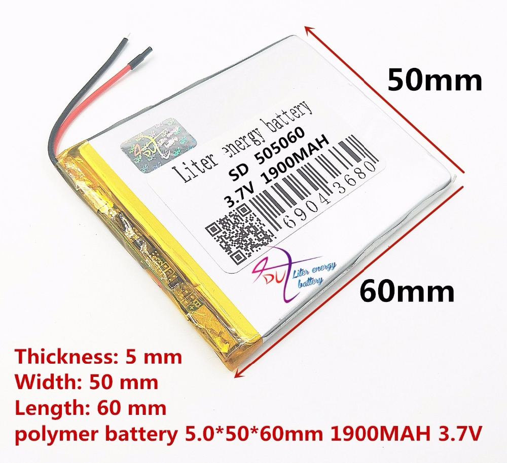 SD505060 505060 3.7v lithium polymer battery 505060 lipo cell 3.7v 1900MAH lithium batery Rechargeable batteries