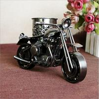 Large Pure Handmade Tricycle Pencil Holder Metal Motorcycle Model Antique Motor Bicycle Pen Container Holder Home Office Decor