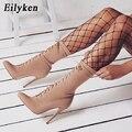 Eilyken/осенне-зимние ботинки на шнуровке из эластичной ткани; Ботинки на высоком каблуке с острым носком; Пикантные ботильоны для женщин; Носк...