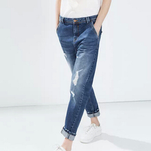 2017 Новая Мода Женская элегантный классический отверстия Синий джинсы trouses молния карманы узкие брюки случайный тонкий дизайн бренда