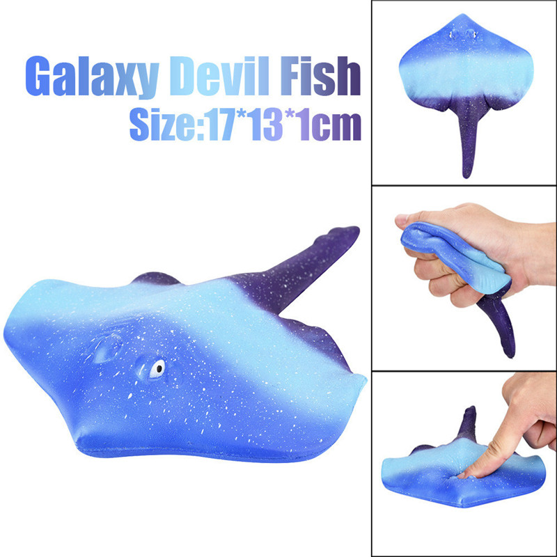 Factory Outlets Fun 17cm Galaxy Devil Fish Ray Cream Scented Squishy Slow Rising SquishiesRelaxed Squeeze Kids Toy Charm