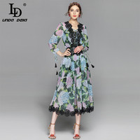 High Quality 2017 Runway Designer Summer Dress Women S Long Sleeve V Neck Lace Patchwork Casual