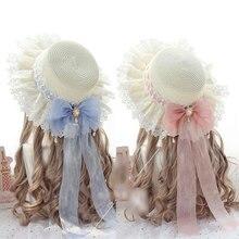 قبعات للبنات من القش الحلو لوليتا مع قبعة صيفية للشاطئ من الدانتيل وعقدة فيونكة