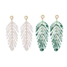 2019  NEW 1 Pair Acrylic Leaf Dangle Earrings for Women Fashion Boho Statement Wedding Jewelry