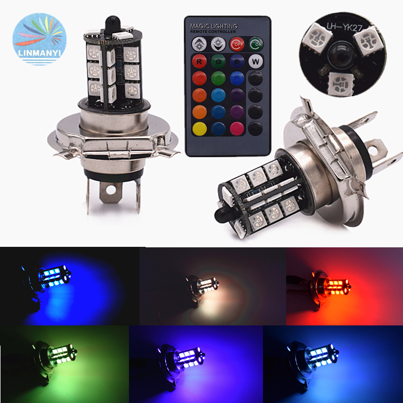 2pcs Wireless <font><b>H4</b></font> multi-color <font><b>RGB</b></font> fog lights <font><b>H4</b></font> 5050 27SMD 27LEDHeadlight bulb Automobile Fog Light 6000 K 12000 lm 12V image