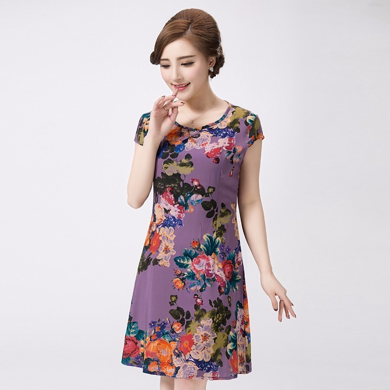 2f6aa1922af XL-5XL 2018 Women Dress Style Plus Size Vintage Printed Flower Print  sundress Long Casual