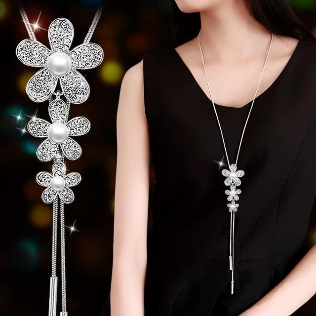 RAVIMOUR Simulé Perle de Foulard Colliers pour Femmes Couleur Argent À Longue Chaîne Collier Pendentif Bijoux Accessoires À La Mode Kolye 4