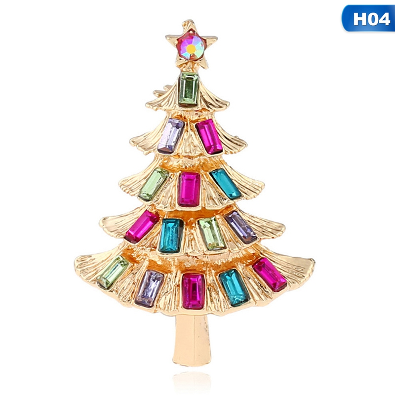 2019 Colorful Crystal Rhinestone Christmas Tree Brooches for Women Vintage Exquisite Pins Gift Sweater Dress Accessories Jewelry