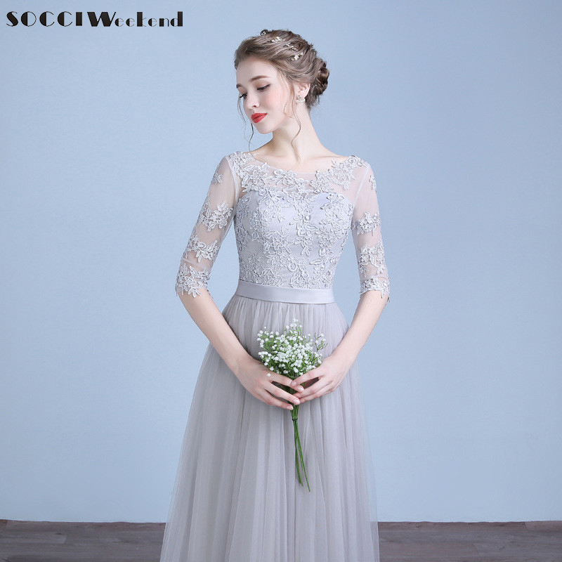 SOCCI Long Evening Dresses 2017 Half Sleeves Lace up back Appliques Lace Homecoming Dress Bridal Formal Wedding Party Gown