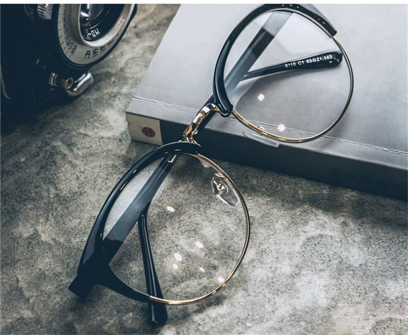 4dc48ebb92 iboode Retro Cat Eye Glass Frame Women Men Vintage Clear Lens Half-rim  Eyeglasses Plain Eyewear Myopic Fashion Goggles