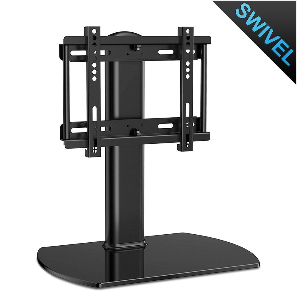 Fitueyes Universal Table Top TV Stand for 20 to 37 inch TVs with 35 degree swivel, tempered glass base, Hold up to TT104001GB fitueyes universal swivel tv stand base with mount height adjustable for 26 to 55 tv tt106001mb