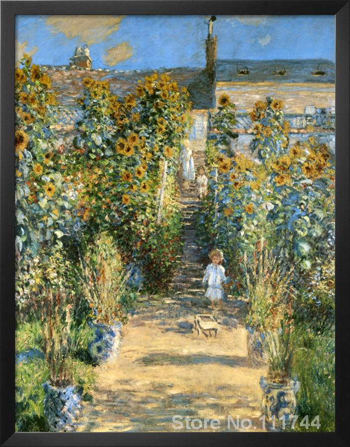Garden At Vetheuil Claude Monet Garden Oil Painting Reproduction Hand  Painted High Quality In Painting U0026 Calligraphy From Home U0026 Garden On  Aliexpress.com ...