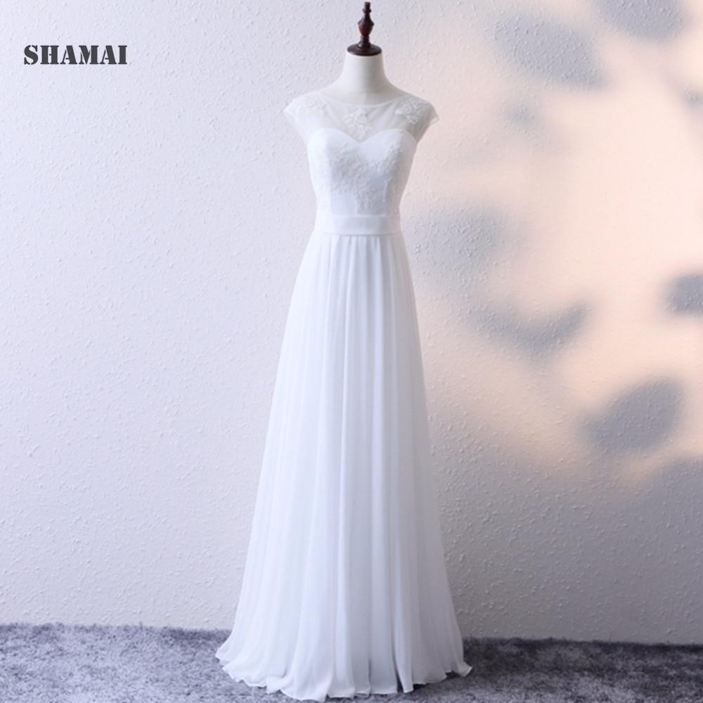 2a92a22bfbab SHAMAI Cheap Lace Chiffon Wedding Dress O-Neck Tulle Boho Summer Beach  Bridal Gown Bohemian Wedding Gowns Robe De Mariage