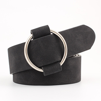 OLOME Vintage Women Leather Belt Black Pink White Brown Round Ring Waist Belts Female Ladies Suede Straps Wild Jeans Belt