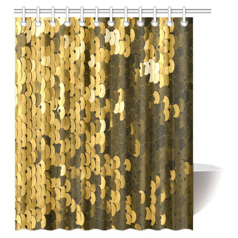 Aplysia Abstract Background with Gold Sequins Color Fabric Bathroom ...