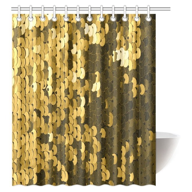 Aplysia Abstract Background With Gold Sequins Color Fabric Bathroom Shower Curtain Hooks 60 X 72 Inches