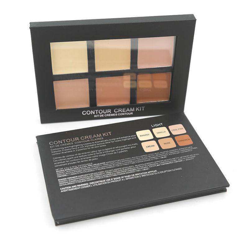 6 Colors Contour Palette Kit Cream Concealer Makeup Palette 1pcs Face Primer All Skin Types Net 30g