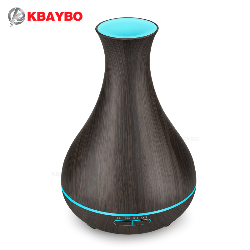 KBAYBO 550 ml Aroma Huile Essentielle Diffuseur Électrique Bois Grain Ultrasons Brume Fraîche Humidificateur pour Bureau Maison Chambre Salon