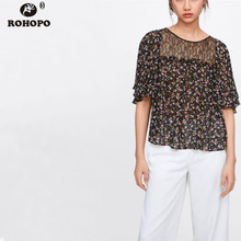 ROHOPO Women Printed Floral Black Blouse Butterfly Short Sleeve Top Patchaork Lace Casual Vintage Chiffon blusa #OYK9669
