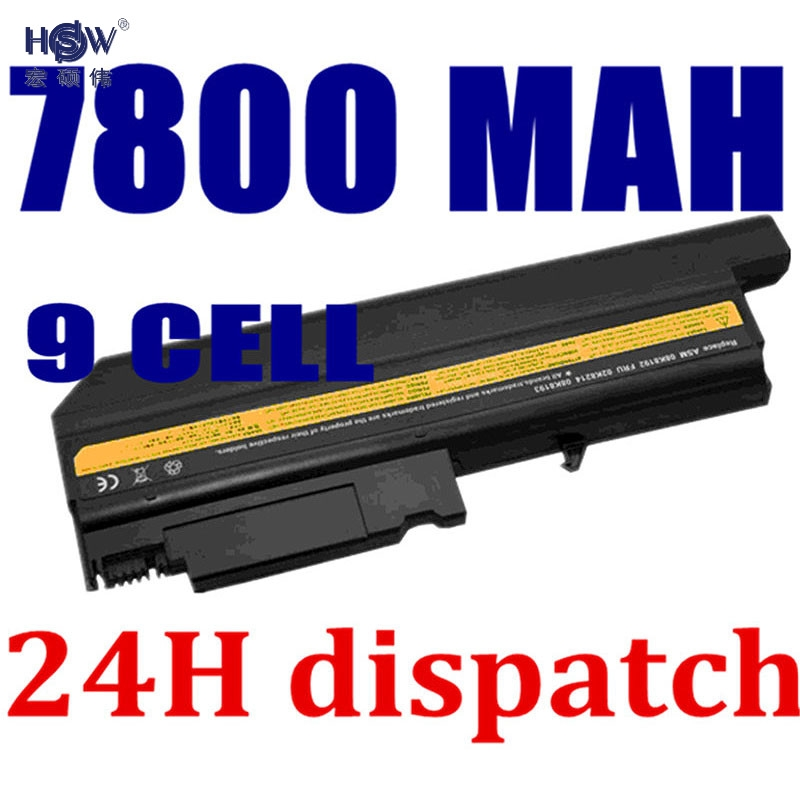 HSW 7800MAH new Replacement Laptop Battery For IBM ThinkPad R50 R50E R50P R51 R52 T40 T40P T41 T41P T42 T42P T43 T43P bateria kingsener 10 8v 7200mah new battery for ibm thinkpad r50 r50e r50p r51 r51p r52 r52p t40 t40p t41 t41p t42 t42p t43 t43p 42t4608