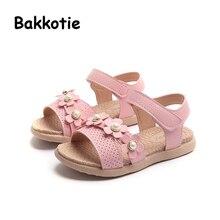 Bakkotie 2018 New Fashion Summer Children Pearl Pink Cute Flats Baby Girl  Sweet Brand Flower Beach Sandal Little Kid Soft Shoes 8b65b26cd971