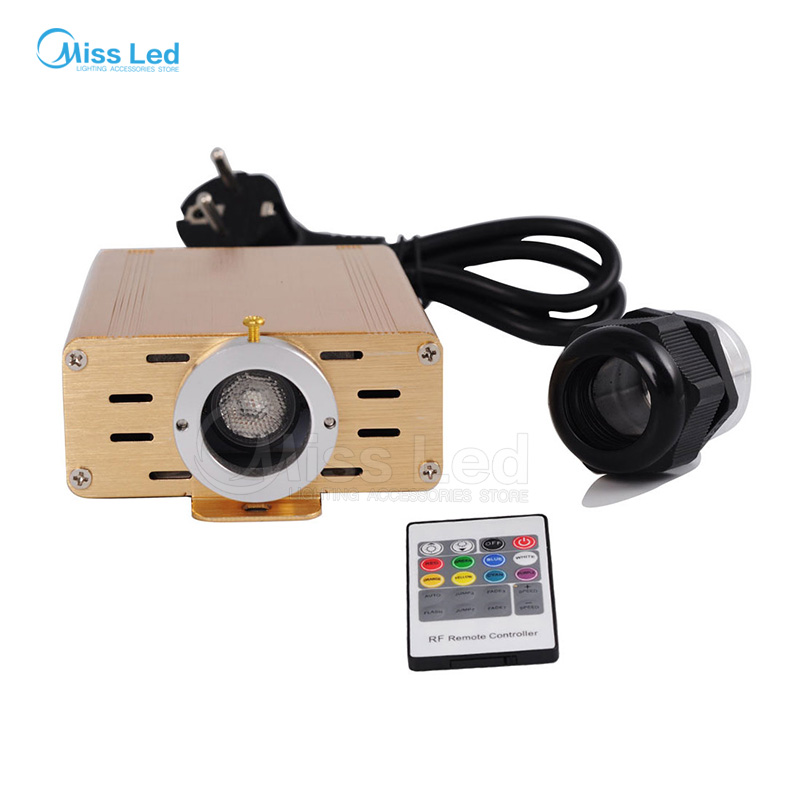Free shipping RGB 16W LED Fiber Optic Engine Driver Golden Case with 20key RF Remote Controller For All Kinds Fiber Optics