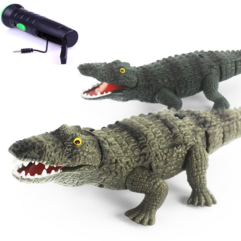 Funny Novelty toys Electric Remote Control Crocodile Gags Practical Jokes Simulation Animals model Creative toy children kids navigation model of children s toys the remote control boat 2 4 g remote control boat the simulation speed boats