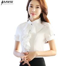 Elegant Ruffles Blouses women summer fashion formal stand collar slim chiffon shirt office ladies work plus size tops