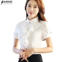 Elegante Rüschen Blusen frauen sommer mode formale stehkragen dünnes chiffon hemd büro damen arbeiten plus größe tops