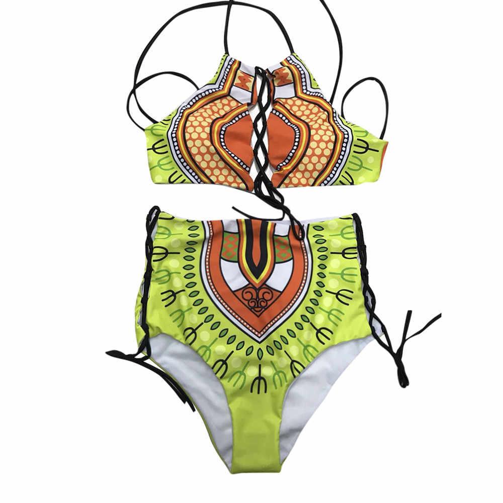 مثير القبلية طباعة ثوب السباحة المرأة الأفريقية ملابس السباحة 2019 جديد زائد حجم ملابس السباحة عالية الخصر بيكيني الأصفر الشاطئ ملابس سباحة حريمي