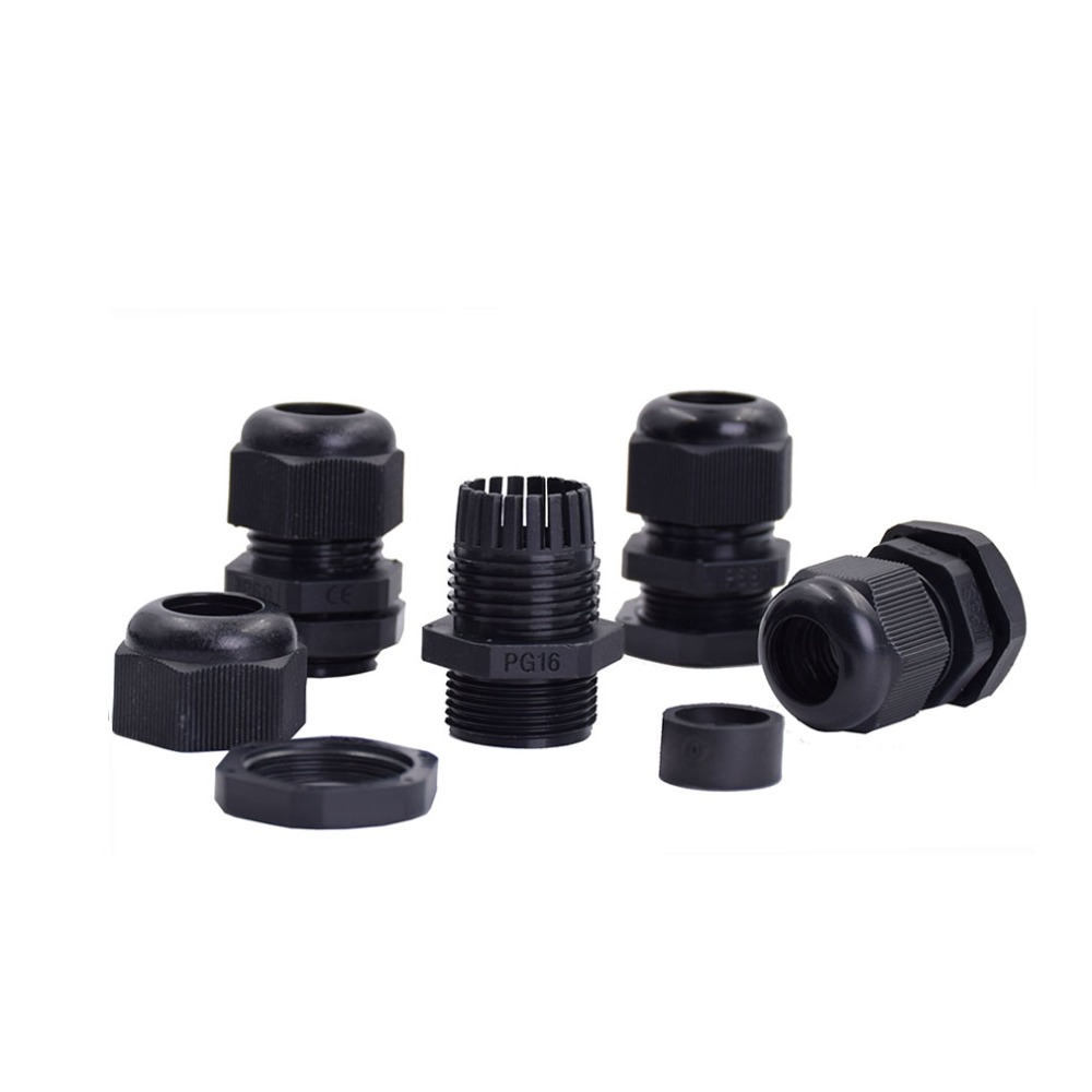 100pcs/lot PG16 Waterproof Cable Gland Connector Adjustable M22 Plastic Cable Gland with Locknut For 10 14mm Wire Black Grey-in Cable Glands from Home Improvement    3