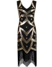 PrettyGuide Mujeres 1920's Vintage 1920 s Vestido de Perlas de Lentejuelas Fringe Flapper Deco Vestido de Cóctel Gran Gatsby Charleston