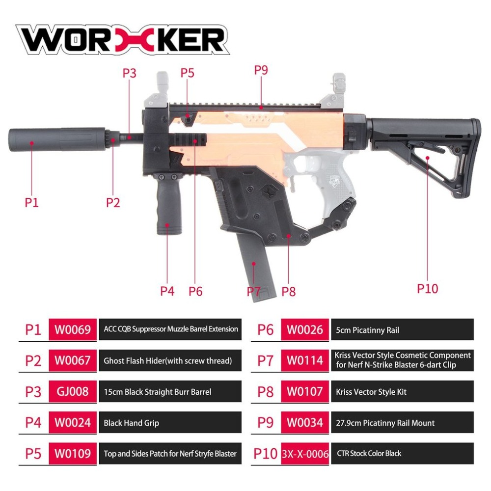 WORKER Dagger Cover Updated Version Modified Kit Kriss Vector Imitation Kit Special for Nerf Stryfe Modify Toy