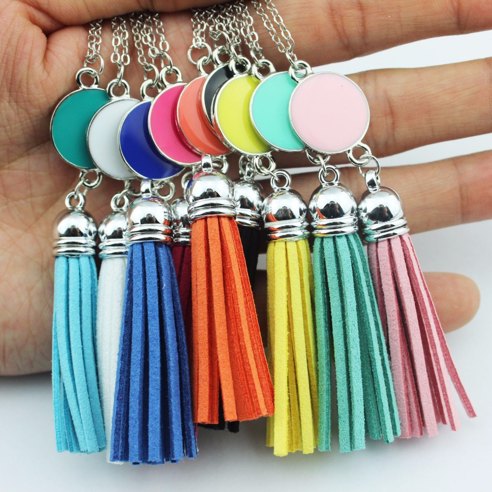 Personalized Monogram Enamel Disc Blank Tassel Pendant Necklaces for Women Custom Necklaces