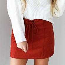 2018 Brand New Summer Women Suede Skirt Lace Up High Waist Pencil Bandage Mini Pencil Skirts(China)