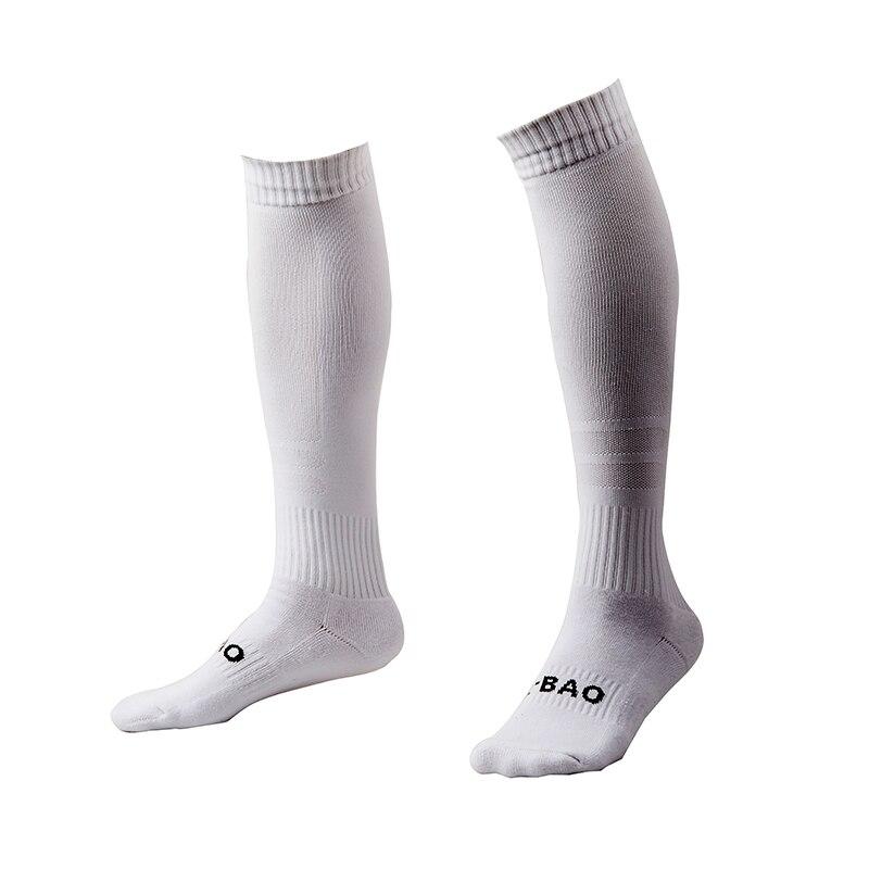 R-BAO, 1 пара, хлопковые мужские спортивные носки, прочные длинные футбольные спортивные носки, футбольные баскетбольные дышащие противоскользящие гольфы - Цвет: white
