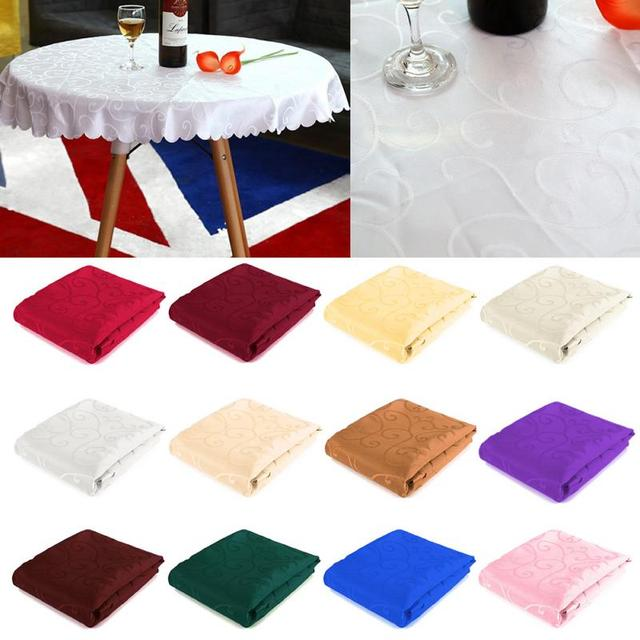 1 Pc Tablecloth 1M Round Tablecloth Table Cover Cloth Elegant Flower Pattern Wedding Banquet Decor 12 Colors