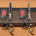 6.0'' 17.5cm Japan Kasho 440C Black Colour Professional Human Hair Scissors Hairdressing Cutting Shears Thinning Scissors H1005