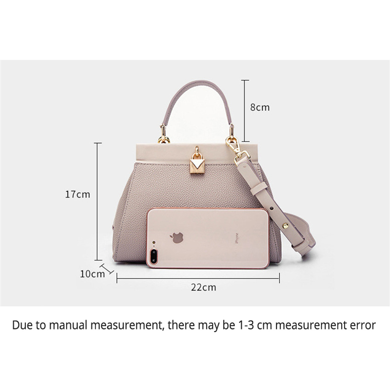 Small Handbags Womens Genuine Leather Litchi Fashion Females Messenger Bags Soft Real Leather Ladies Shoulder Bag Lock Trend