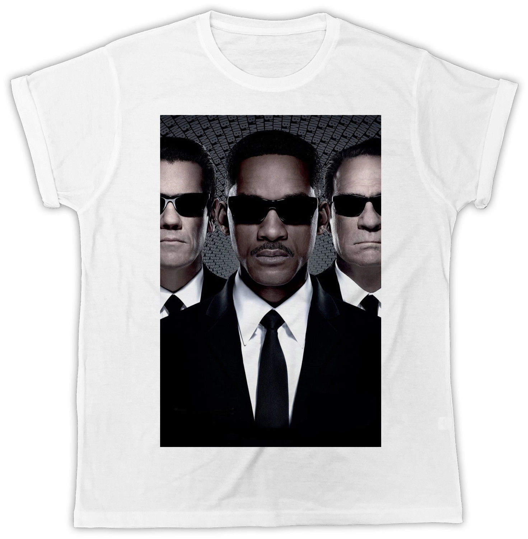 COOL MEN IN BLACK FUNNY MOVIE POSTER UNISEX RETRO COOL WHITE T-SHIRT Printed T Shirt Short Sleeve Men